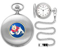 Fresno State Bulldogs Silver Pocket Watch w/Chian