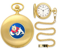 Fresno State Bulldogs Gold Pocket Watch w/Chain