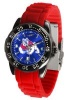 Fresno State Bulldogs Fantom AC™ Gunmetal Sport AnoChrome Watch - Red Silicone Band