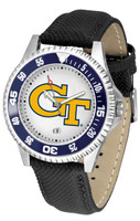 Georgia Tech Yellow Jackets Competitor Leather Watch White Dial (Men's or Women's)