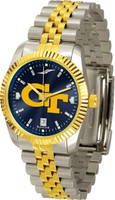 Georgia Tech Yellow Jackets Executive  2-Tone 23k Gold AnoChrome Stainless Steel Watch - Red Dial (Men's or Women's)