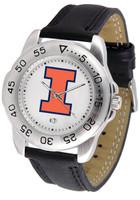 Illinois Fighting Illini  Sport Leather Watch White Dial (Men's or Women's)