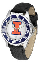 Illinois Fighting Illini  Competitor Leather Watch White Dial (Men's or Women's)