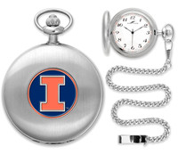 Illinois Fighting Illini  Silver Pocket Watch w/Chain