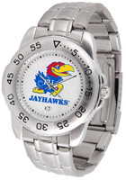Kansas Jayhawks  Sport Stainless Steel Watch White Dial (Men's or Women's)