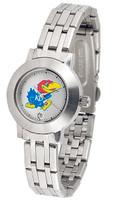 Kansas Jayhawks  Ladies Silver Stainless Steel Dynasty Watch - White Dial