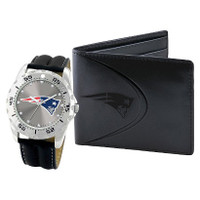 *New England Patriots NFL Men's Leather Watch and Leather Wallet Gift Set