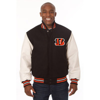 *Cincinnati Bengals NFL Men's Heavyweight Wool and Leather Jacket