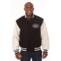 *New York Jets NFL Men's Heavyweight Wool and Leather Jacket