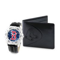 Boston Red Sox MLB Mens Leather Watch and Leather Wallet Gift Set