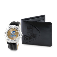 Kansas City Royals MLB Mens Leather Watch and Leather Wallet Gift Set