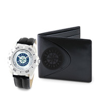 Seattle Mariners MLB Mens Leather Watch and Leather Wallet Gift Set