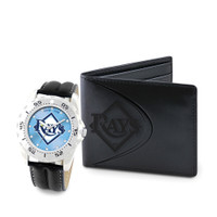 Tampa Bay Rays MLB Mens Leather Watch and Leather Wallet Gift Set
