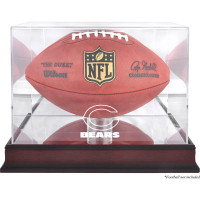*Chicago Bears Mahogany Football Team Logo Display Case with Mirror Back