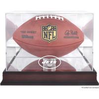 *New York Jets Mahogany Football Team Logo Display Case with Mirror Back