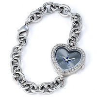*Dallas Cowboys Stainless Steel Rhinestone Ladies Heart Link Watch