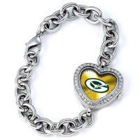 *Green Bay Packers Stainless Steel Rhinestone Ladies Heart Link Watch