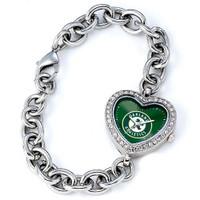 Oakland Athletics Stainless Steel Rhinestone Ladies Heart Link Watch