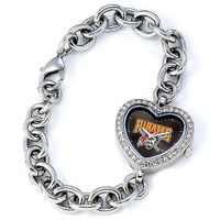 Pittsburgh Pirates Stainless Steel Rhinestone Ladies Heart Link Watch