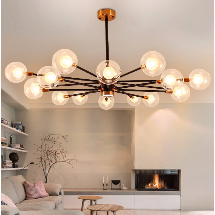 Double Glass Lampshade LED Chandelier Light Modern Style Living Room Horizon Lights