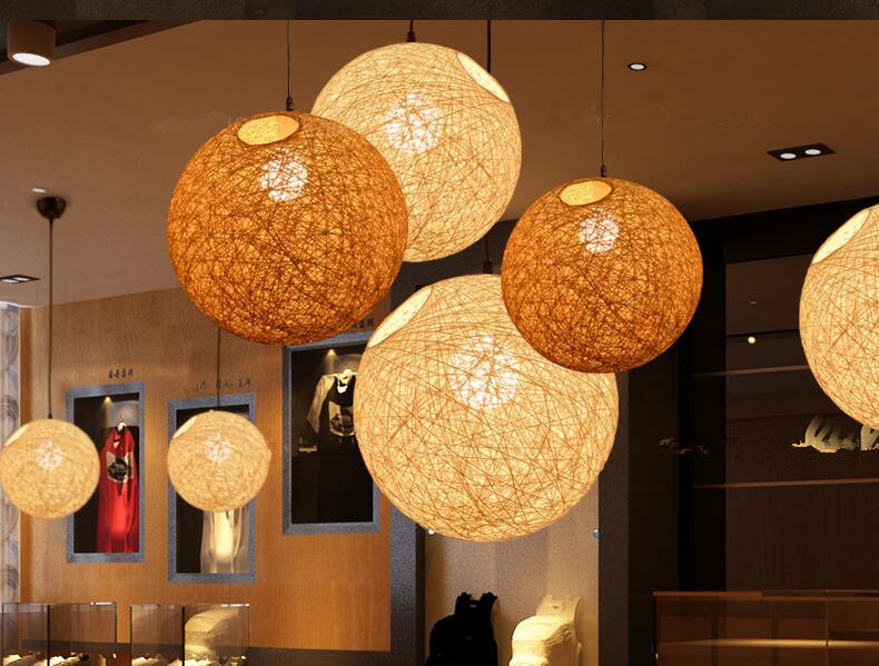 SHIM 40W LED Rattan Hemp Ball  Pendant Lights Singapore;Horizon-lights