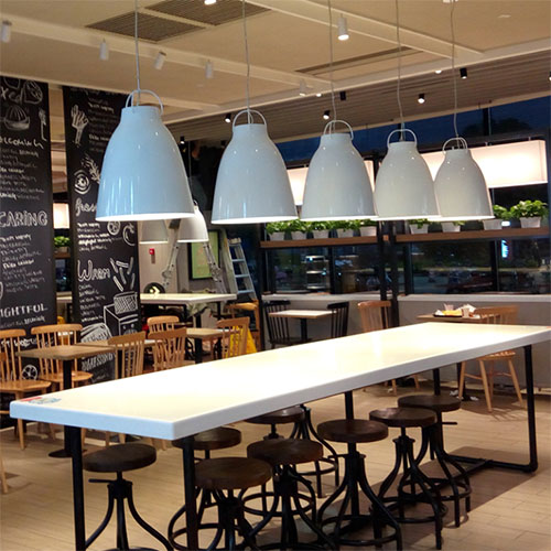 LED Pendant Lights Aluminium Bell Shape fashion shop and restaurants from Singapore best online lighting shop horizon lights