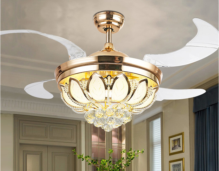 Crystal Ceiling Fan Lights Remote Control Modern Style For