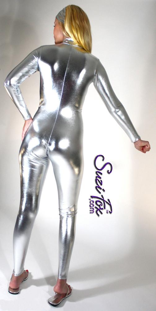 Red metallic spandex wetlook zentai cat suit 1 3
