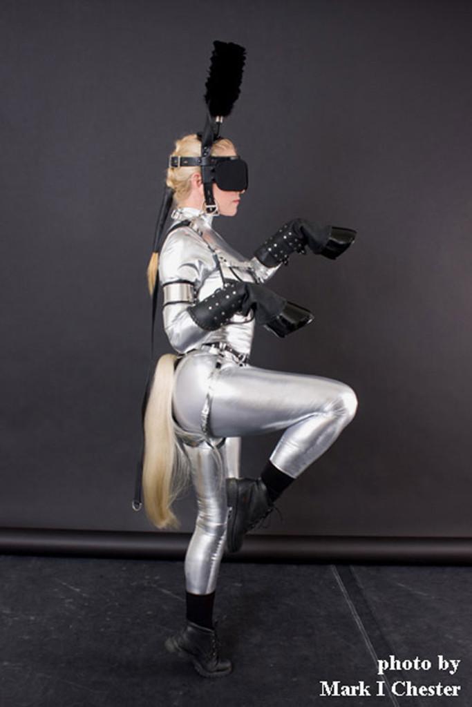 Custom Catsuit By Suzi Fox Shown In Silver Metallic Foil