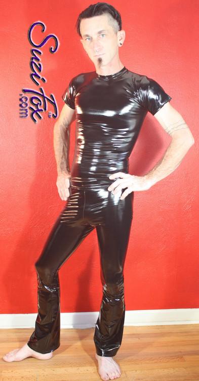 Mens Hiphugger Boot Cut Pants Shown In Gloss Black Vinyl