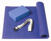 GoFit Complete Yoga Kit - Basic Blue Mat, Foam Block, Strap, & Yoga Posture Poster