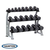 Hampton Dura-pro 10 Pair Dumbbells (55-100 in 5 lb increments) Horizontal Racking Club Pack
