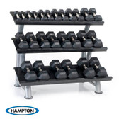 Hampton Urethane Dura-Bell 26 Pair Horizontal Racking Dumbbell Set with two 2T-FLT Rack