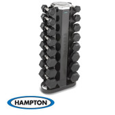 Hampton Urethane Dura-Bell 8 Pair Vertical Racking Dumbbell Set with one V-2-8 Rack