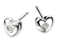 D for Diamond silver heart earrings for girls