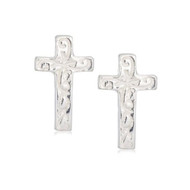 Jo For Girls Patterned Silver Cross Stud Earrings