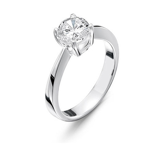 Girls Silver Ring with Clear CZ Solitaire