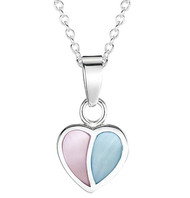 Jo For Girls Pink and Blue Mother of Pearl Heart Pendant