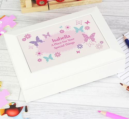 Girls Personalised Butterfly Jewellery Keepsake Box