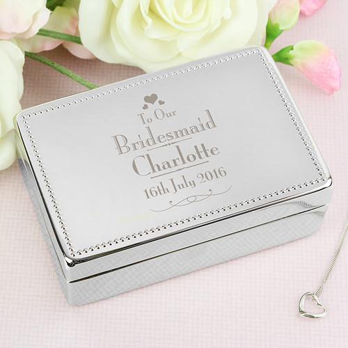 Bridesmaid personalised jewellery box