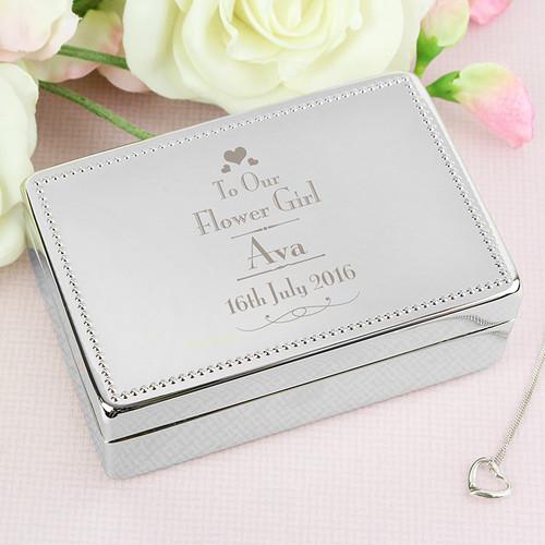Personalised flowergirl jewellery box