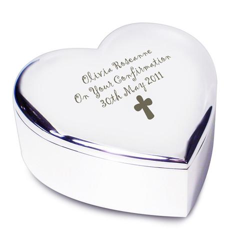 Personalisd trinket box, heart shaped with cross motif