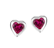 Jo For Girls Ruby CZ Heart Stud Earrings