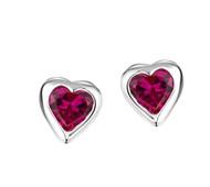 Jo For Girls Ruby CZ Heart Stud Earrings