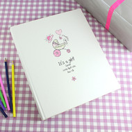 Personalised baby girl photo album - pink pram