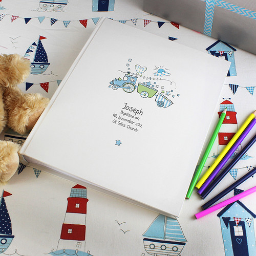 Personalised baby photo album with blue train