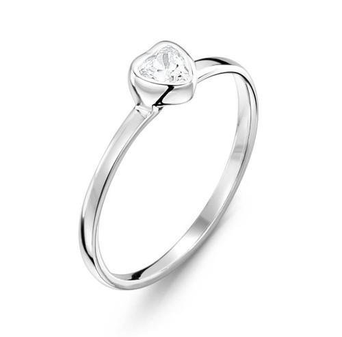 Jo For Girls Clear CZ Heart Ring (JR160cz)
