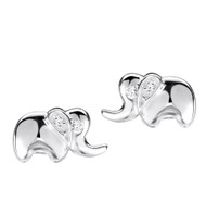Childrens silver elephant earrings