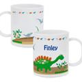 Kids dinosaur plastic mug personalised