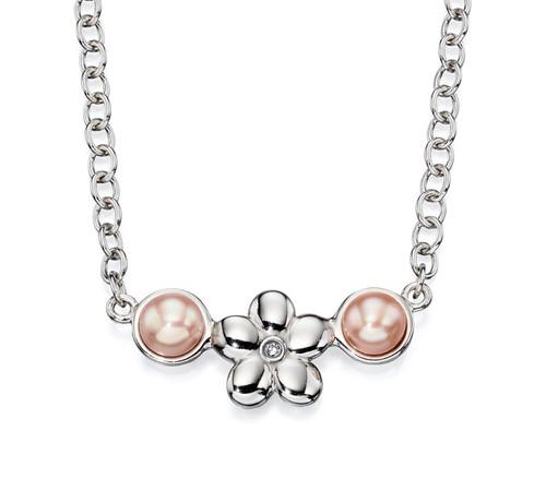 Girls pink pearl diamond flower necklace N4071